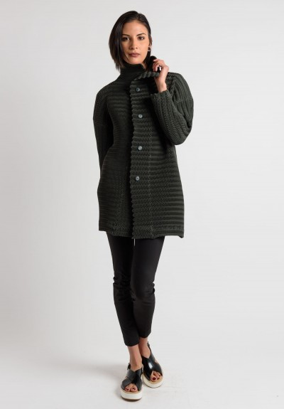 Issey Miyake Pleated Shawl Collar Jacket in Olive