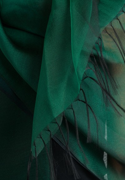 Issey Miyake Double Layer Shawl in Emerald