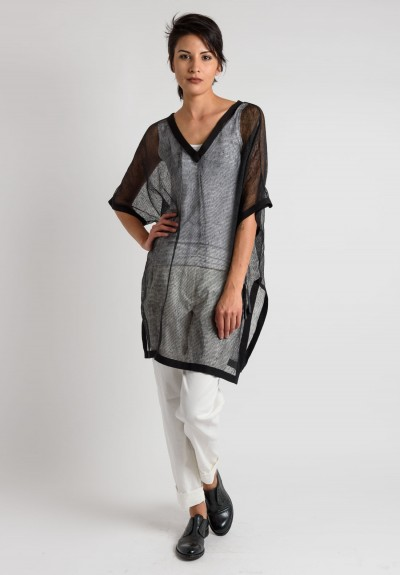 Annette Görtz Linen Short Sleeve Net Tunic in Black