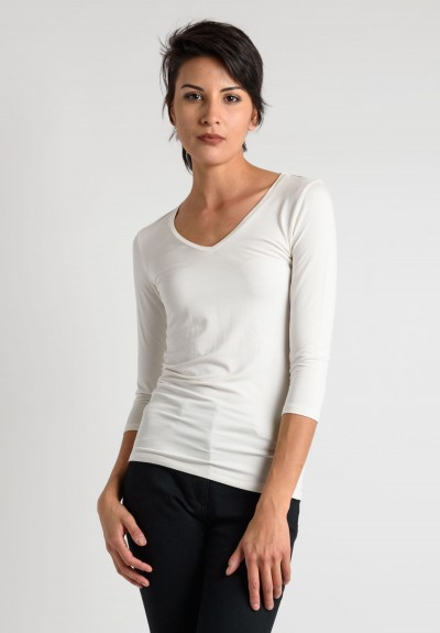 Majestic V-Neck Top in Cream