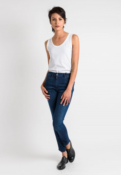 3x1 Light Faded High Rise Skinny Jeans in Navy