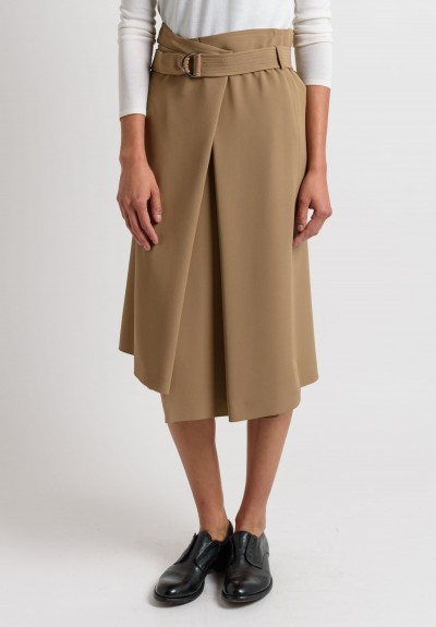 Brunello Cucinelli Belted Slit Skirt in Dark Sand