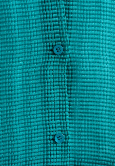 Issey Miyake Long Sleeve Button-Down Jacket in Turquoise