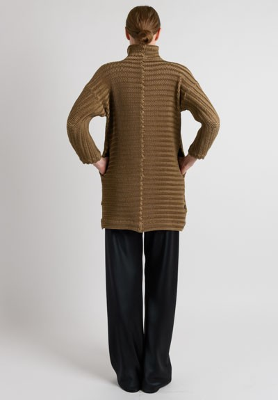 Issey Miyake Pleated Shawl Collar Jacket in Gold