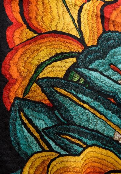 Pineda Covalin Silk Istmo Long Scarf In Black Santa Fe