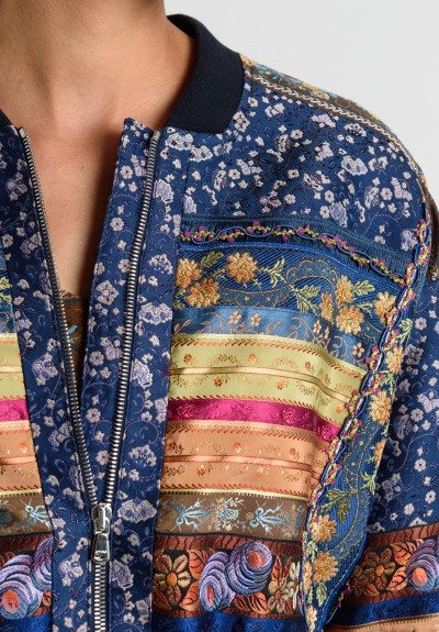 Etro Runway Bomber Jacket in Blue