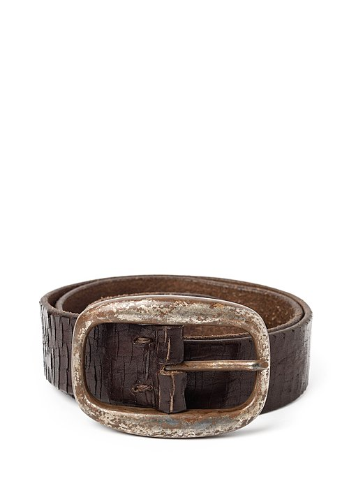 Riccardo Forconi Scored Leather Belt in Dark Brown