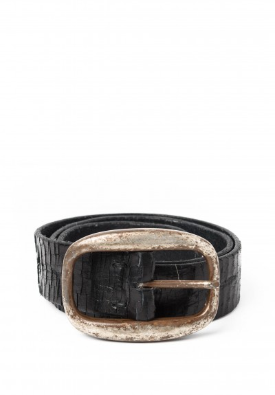 Riccardo Forconi Scored Leather Belt in Black