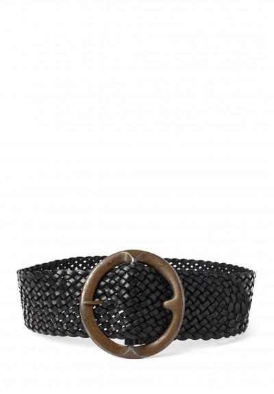 Riccardo Forconi Wide Woven Belt in Black
