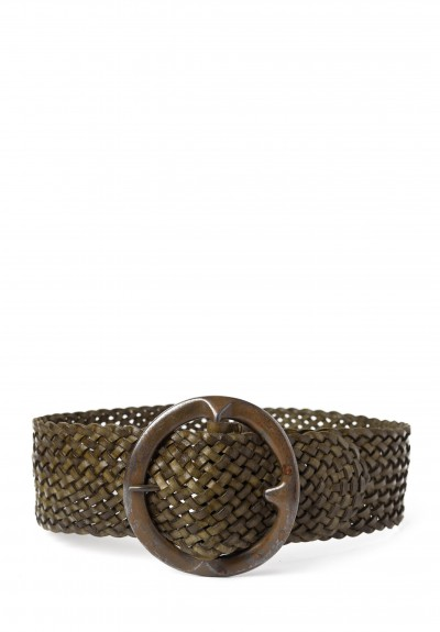 Riccardo Forconi Wide Woven Belt in Green