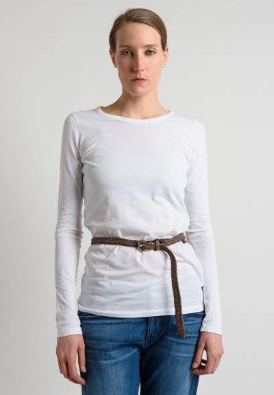 Riccardo Forconi Skinny Woven Belt in Mud