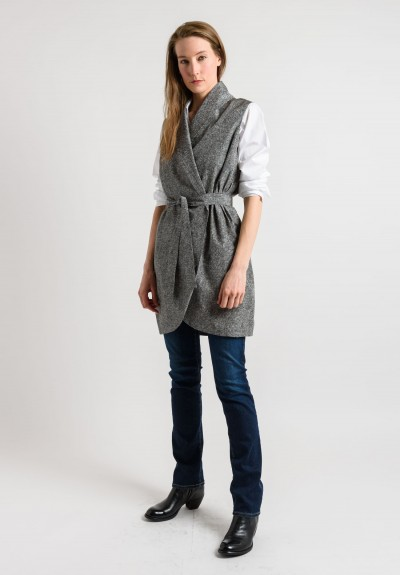 Pauw Silk Wrap Tunic in Black/White