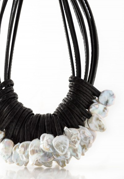 Monies UNIQUE Large Pearl & Leather Necklace