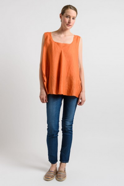Shi Linen Oversized Tank in Orange