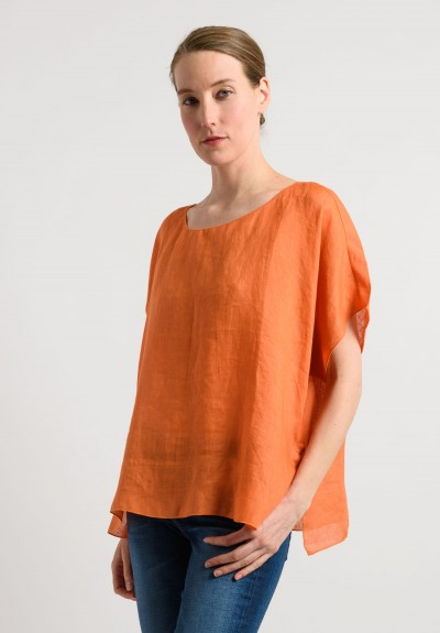 Shi Linen Oversized Top in Orange