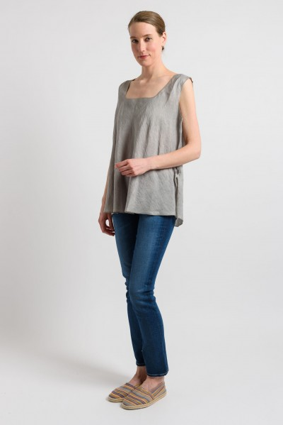 Shi Linen Oversized Tank in Nickel