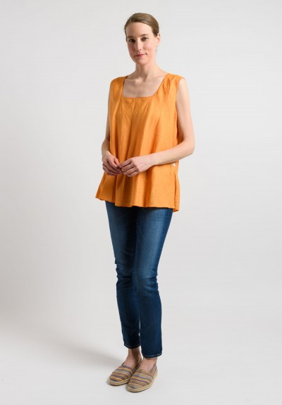 Shi Linen Oversized Tank in Light Orange