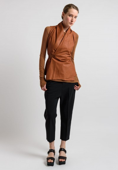 Rick Owens Leather Vest in Henna