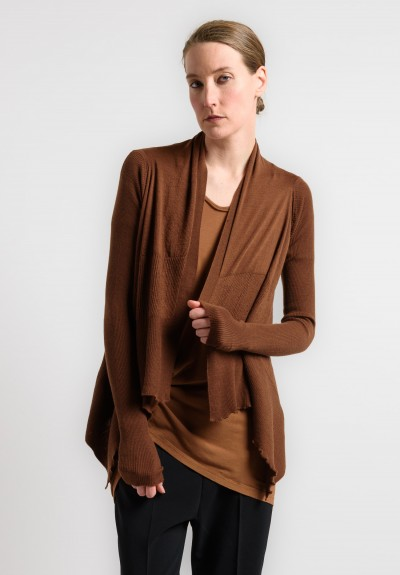 Rick Owens Cashmere Open Cardigan in Henna