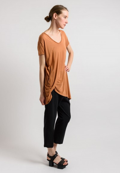 Rick Owens Ruched Tee in Squash
