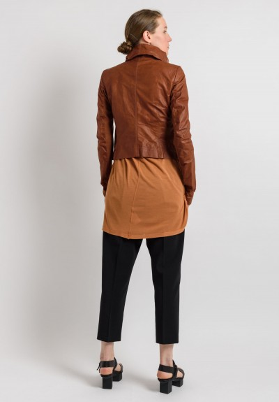 Rick Owens Leather Bomber Jacket in Henna