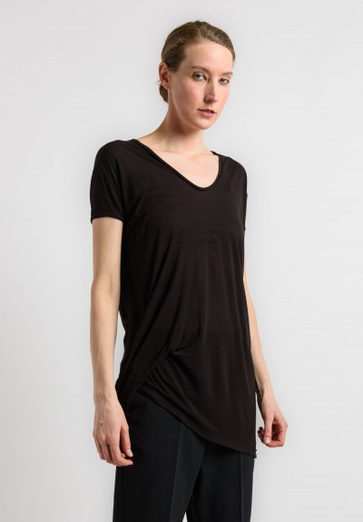 Rick Owens Ruched Tee in Black
