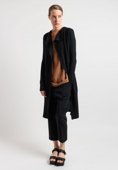 Rick Owens Cashmere Long Cardigan Jacket in Black