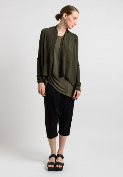 Rick Owens Cashmere Open Cardigan in Palm