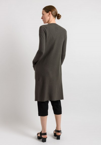 Rick Owens Cashmere Long Cardigan Jacket in Darkdust