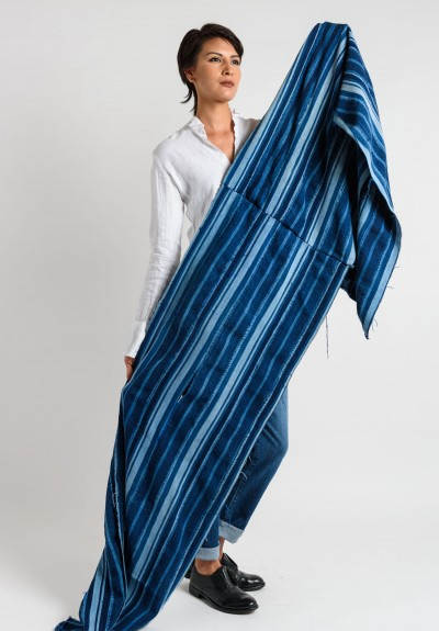 Shobhan Vintage African Striped Shawl in Indigo