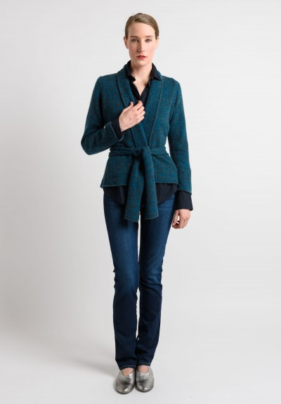 Lainey Cashmere Cardigan in Turquoise	v