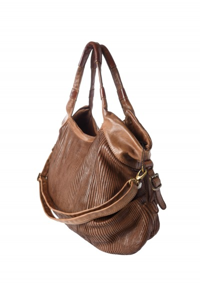 Reptile's House Scored Leather Hobo Bag in Mahogany