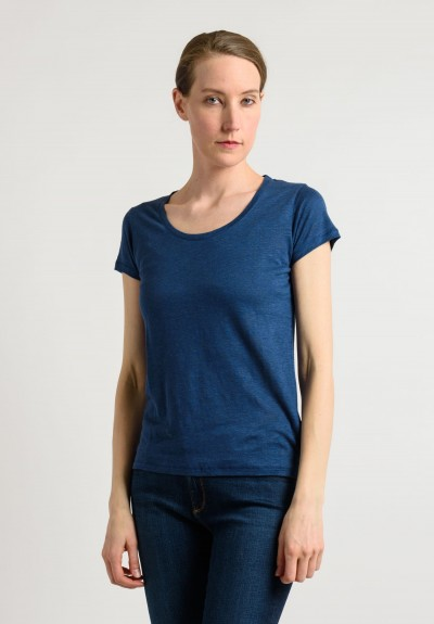 Majestic Linen/Silk Tee in Indigo