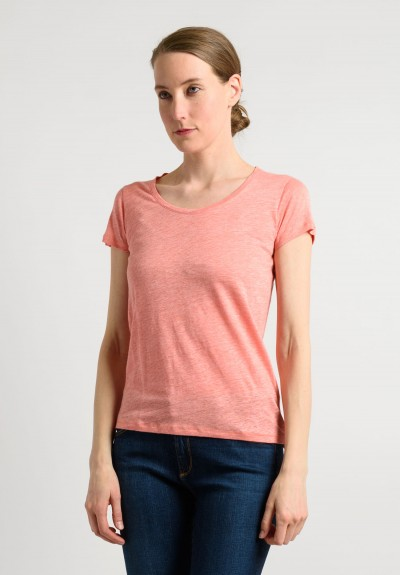 Majestic Linen/Silk Tee in Peach