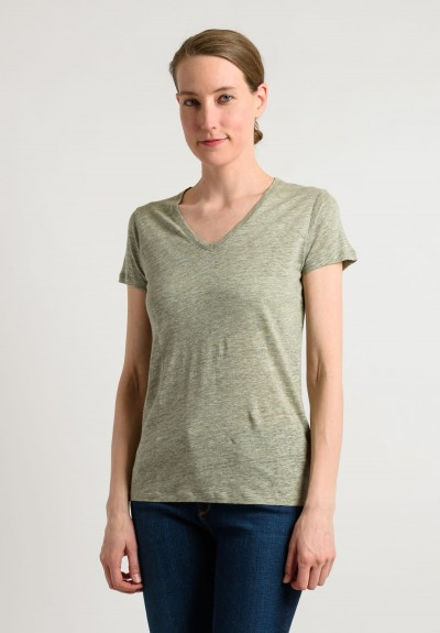 Majestic Linen/Silk V-Neck Tee in Olive