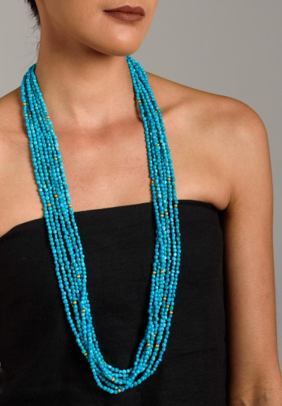 Greig Porter Long Turquoise 7 Strand Necklace