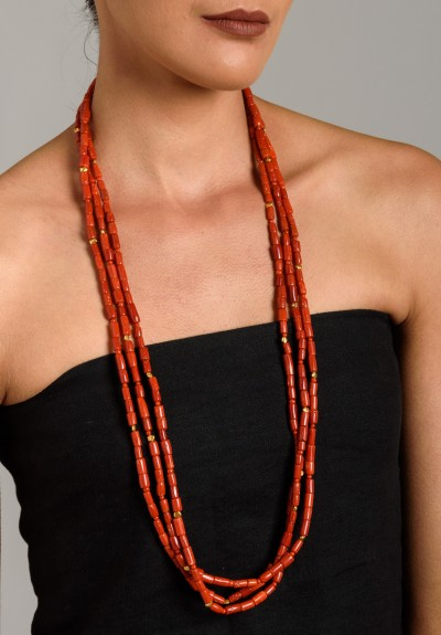 Greig Porter Long 3 Strand Coral Necklace
