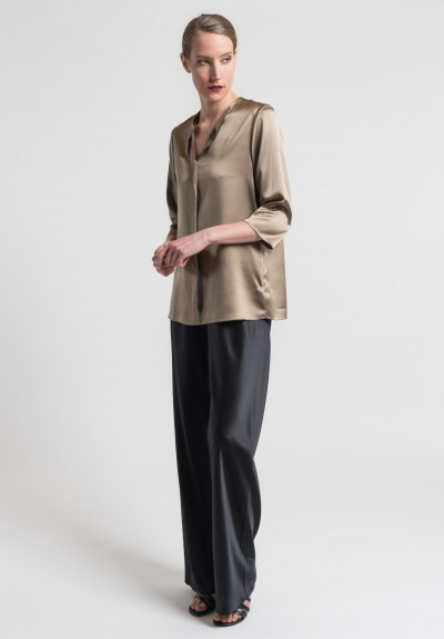 Peter Cohen Silk Wide Leg Pants in Black
