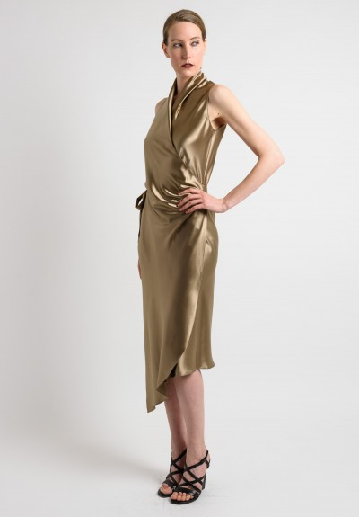 Peter Cohen Sleeveless Satin Dress in Sage