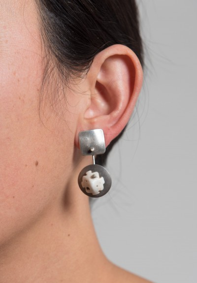 Holly Masterson Sterling Disks & Shell Earrings