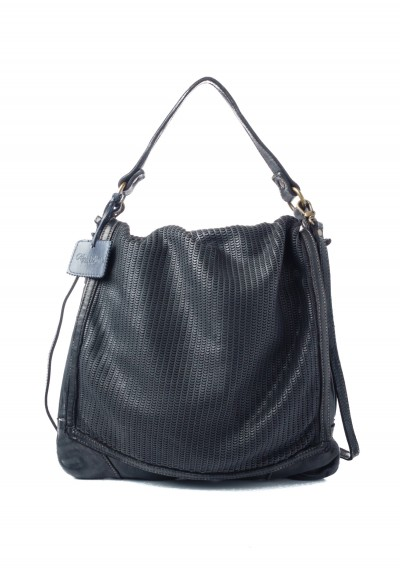 Reptiles House Perforated Top Flap Tote in Black