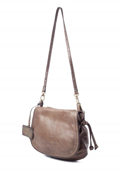 Reptiles House Small Top Flap Shoulder Bag in Brown