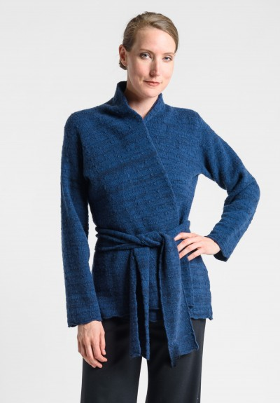 Lainey Cashmere Belted Cardigan in Blue