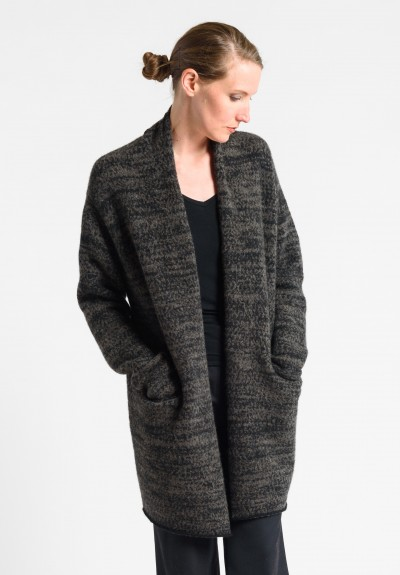 Lainey Cashmere Mid-Length Cardigan in Charcoal