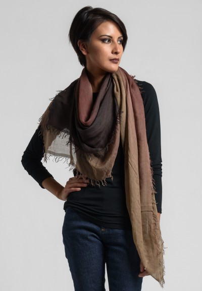 Faliero Sarti Ombre Square Fringe Scarf in Brown