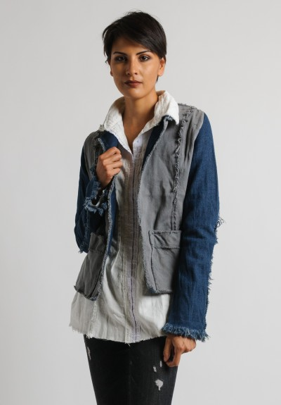 Jaga Hand Painted Jean Jacket in Grey/Blue