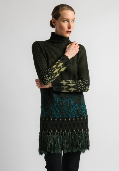 Etro Ribbed Tunic with Tassels in Green