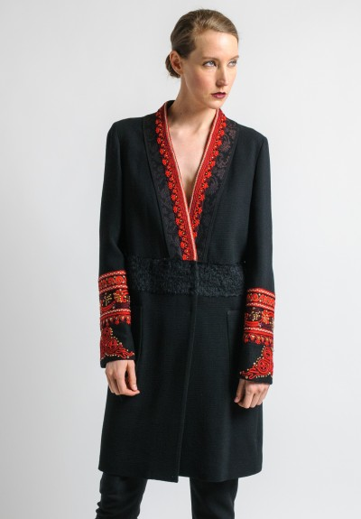 Etro Embroidered & Beaded Jacket in Black