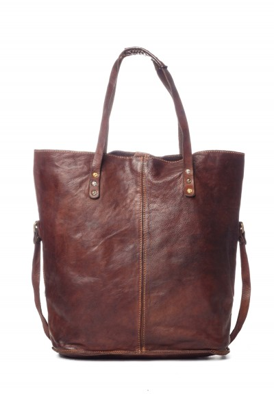 Campomaggi Leather Tote in Dark Brown