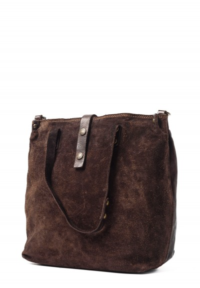 Campomaggi Suede Tote in Dark Brown